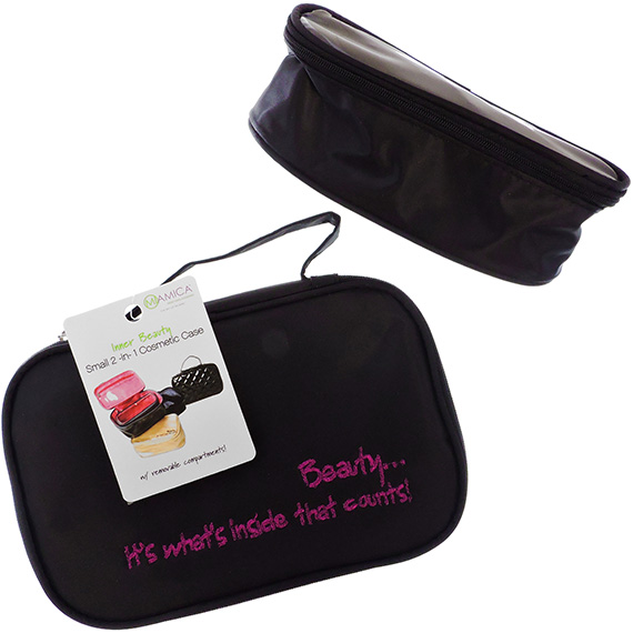 Cosmetic Case 'Its Whats Inside That Counts' 2pc Black
