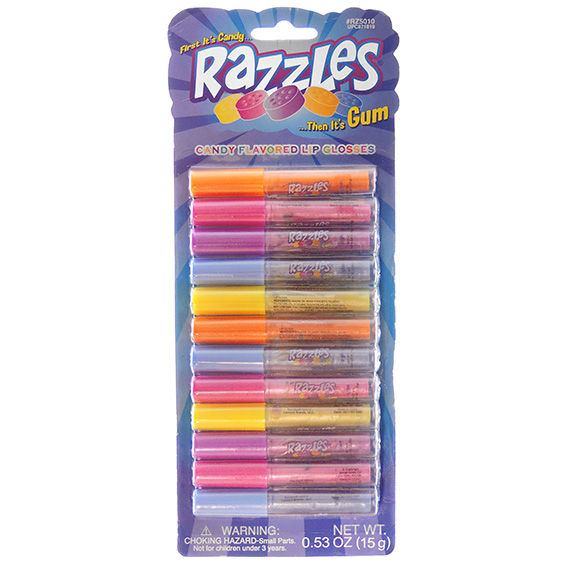 Lip Gloss Set of 12 Razzles Candy Flavors