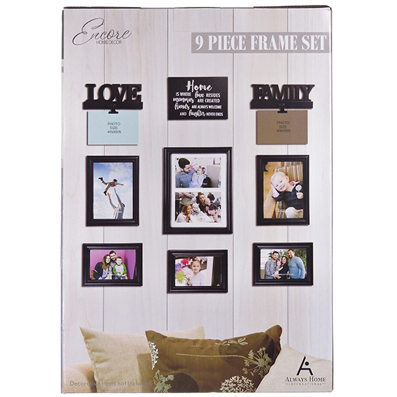 9Pc Wall Décor Set - 6 Frames - 1 Plaque - 2 Clips