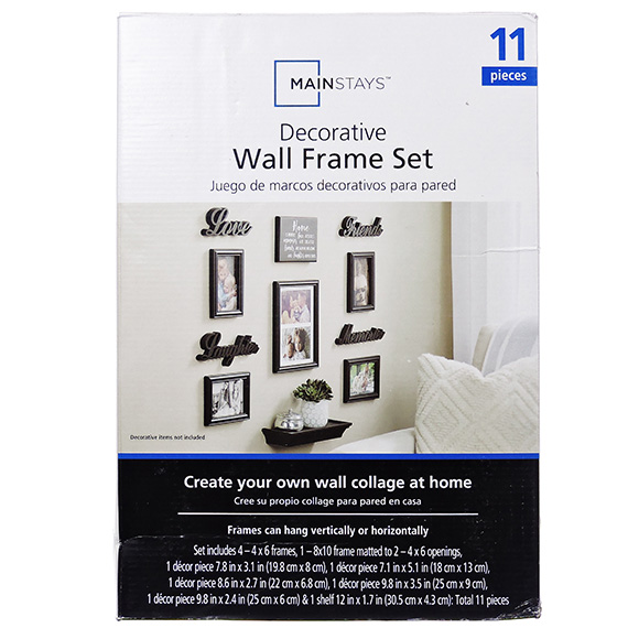 11Pc Wall Decor Set - 5 Frames - 1 Plaque - 1 Shelf -4 Words
