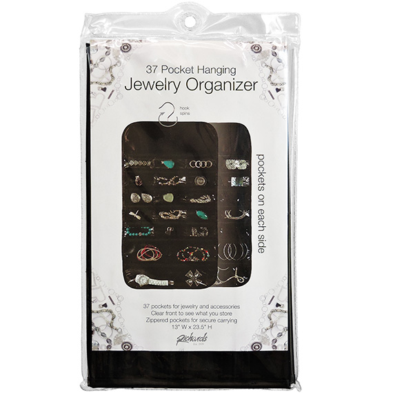 Jewelry Organizer Black Satin 37 Pocket