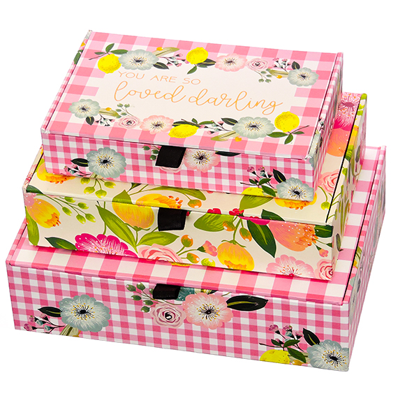 Cigar Box Set of 3 Garden Mums - Nested