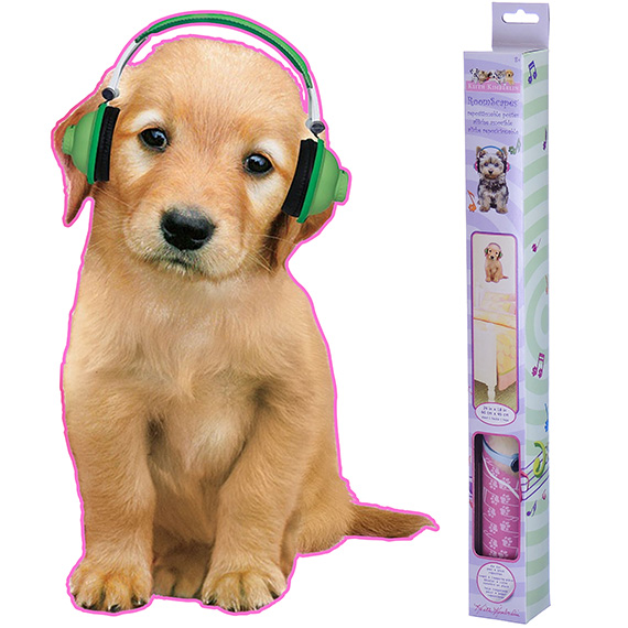 Decal 18 x 24 Dog with Headphones
