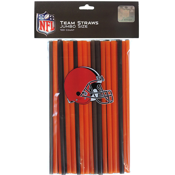 Straws 100 Pk Cleveland Browns