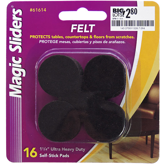 1.25 Inch Ultra Heavy Duty Self Stick Pads Brown 16 Pk PP