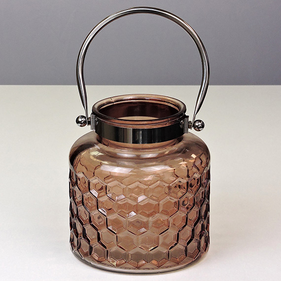 Lantern Brown MED Checkered Metal Handle