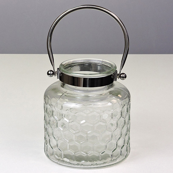 Lantern Clear MED Checkered Silver Handle