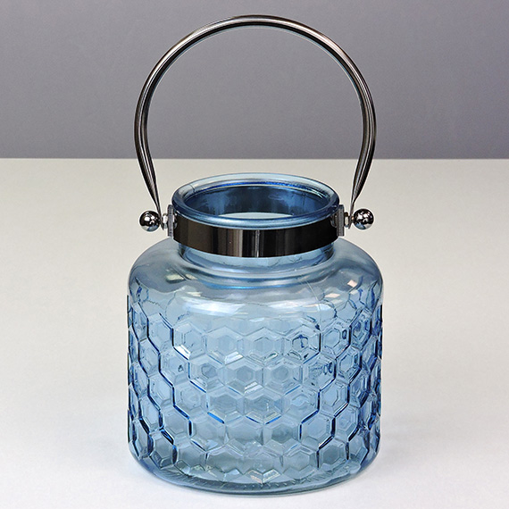 Lantern Navy MED Checkered Silver Handle