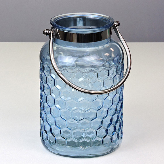 Lantern Navy LG Checkered Metal Handle