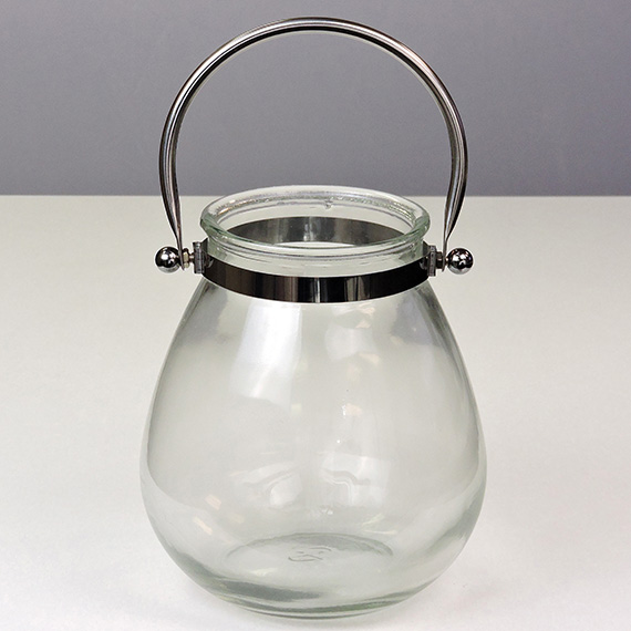 Lantern Clear Oval Medium Metal Handle