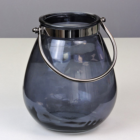 Lantern Smoke LG Oval Silver Handle