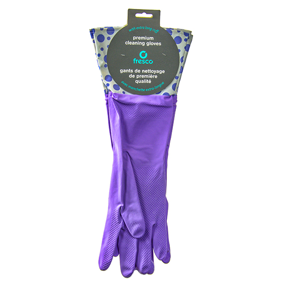 Fresco Premium Cleaning Gloves Extra Long Cuff Purple