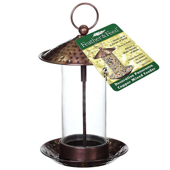 Feather & Feed Decorative Panorama  Bird Feeder Copper