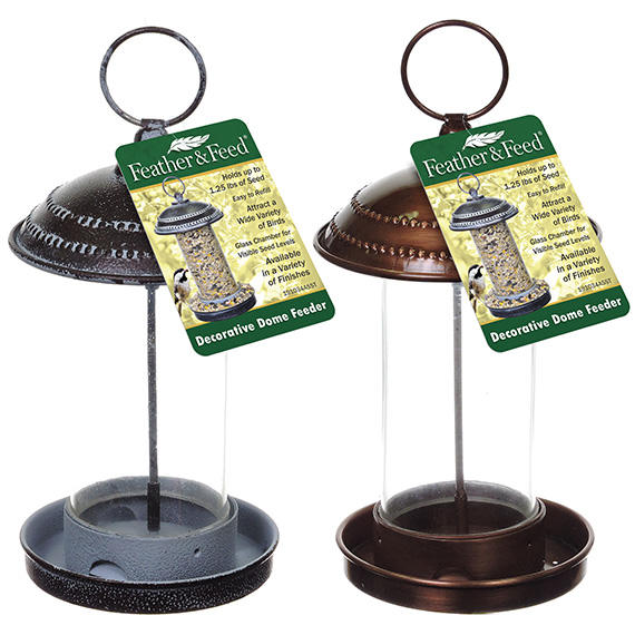 Feather & Feed Decorative Dome Feeder Asst Antq Brass & Cppr