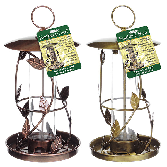 Feather & Feed Decorative Leaf Feeder Asst Antq Brass & Cppr