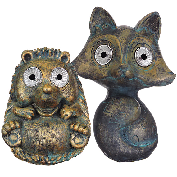 Patina Resin Critter with Solar Light Up Eyes Asst 2