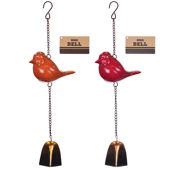 Metal Sculpture Bird Bell Asst 2