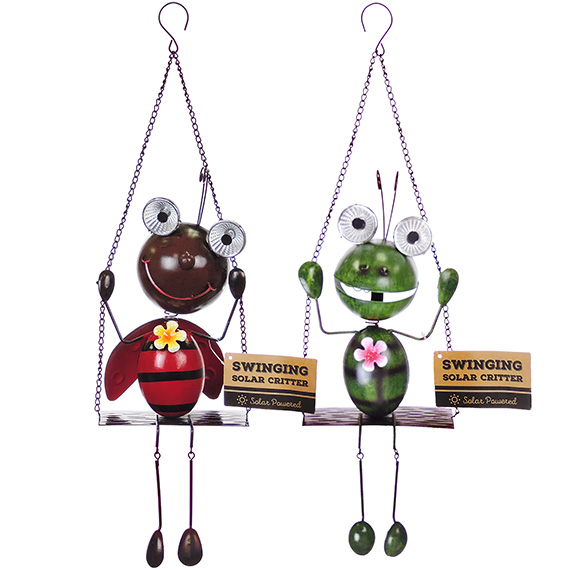 Hanging Metal Swinging Critter Solar Light Up Eyes 2 Asst