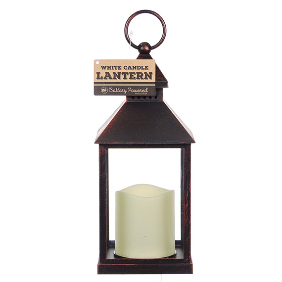 Decorative Brown Metal Lantern With Battery Operated Candle