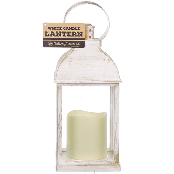Patina Decorative White Lantern With Battery Operated Candle