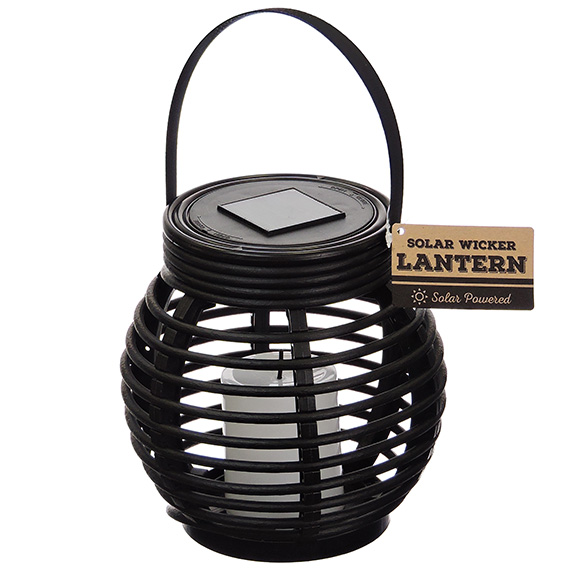 Small Wicker Look Black Lantern