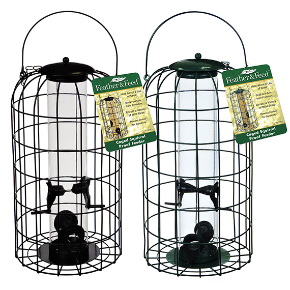 Feather & Feed Caged Squirrel Proof Bird Feeder 2 Asst