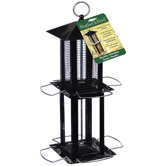 Feather & Feed Double Chamber Tower Bird Feeder
