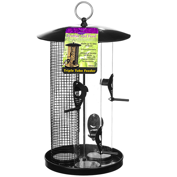 Feather & Feed Triple Tube Bird Feeder
