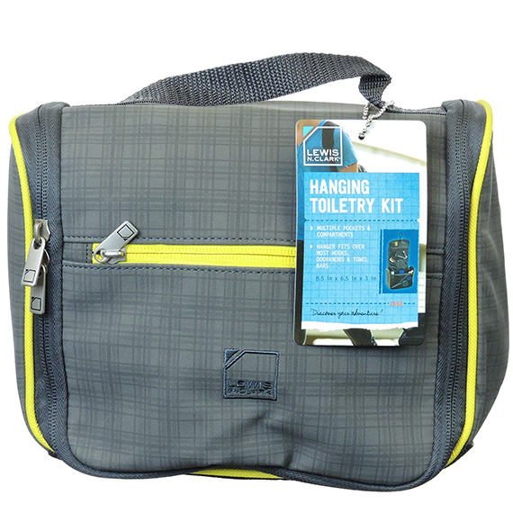 Hanging Toiletry Kit Charcoal and Yellow