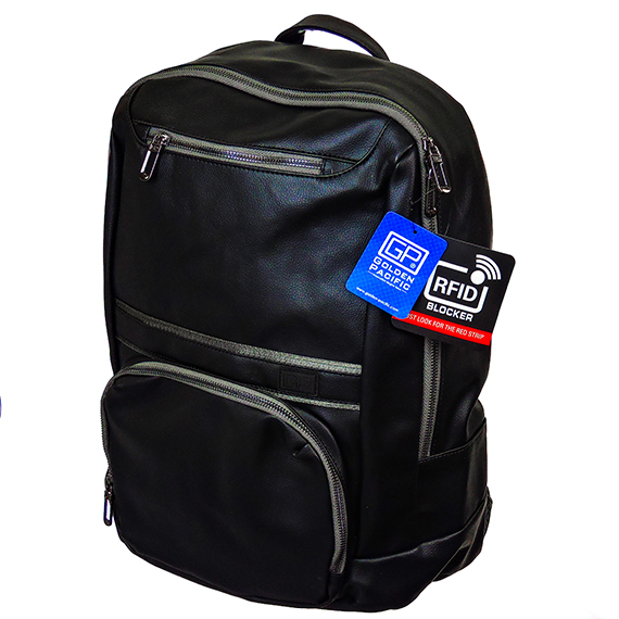 Metro Backpack 18 Inch Black Vinyl Leather Look