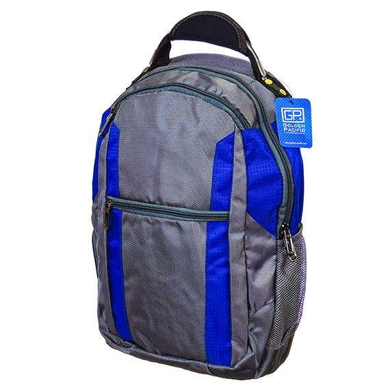 Vulkan Backpack 17 Inch Grey With Blue Trim Durable Nylon