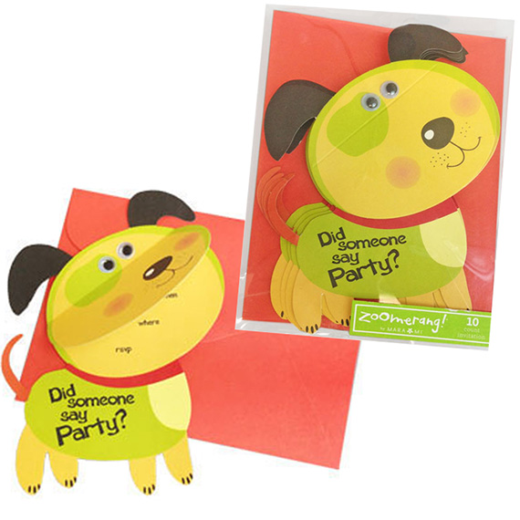 Invitation Die Cut Flap Puppy 10ct