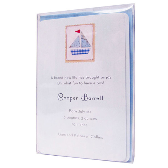 Invitations Baby Blue Sailboat 10ct