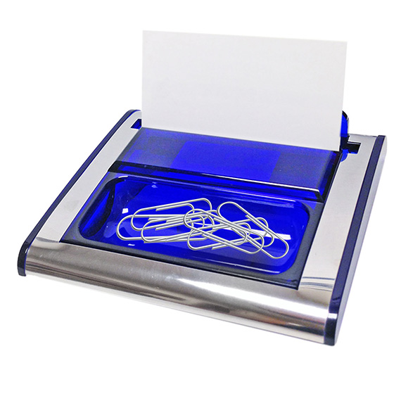 Paper Clip & Business Card Holder Blue