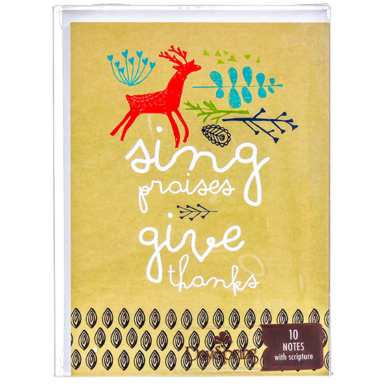 10 Thank You Notes and Envelopes w/Scripture - Sing Praises