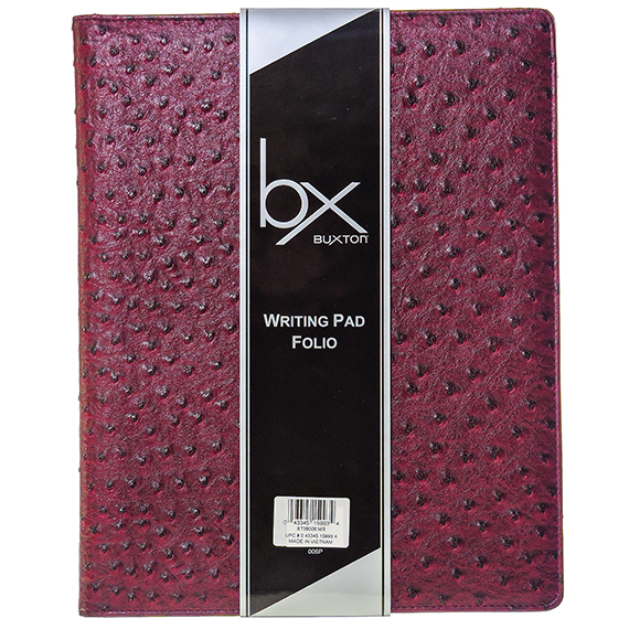 Ostrich Writing Pad Folio with paper tablet Maroon