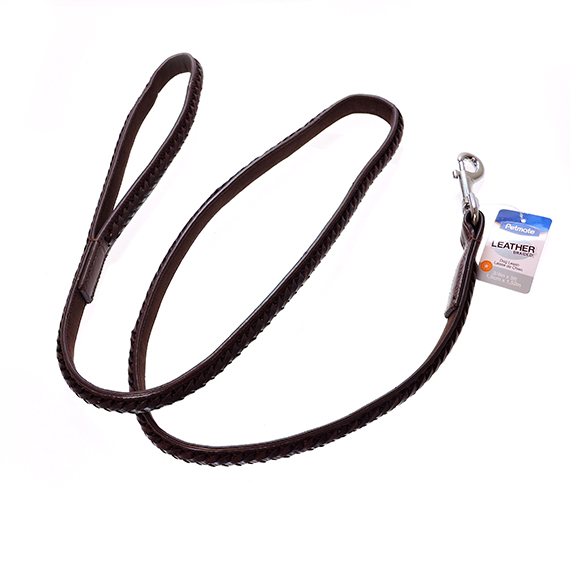 Dog Leash Brown Braided Leather 3/4