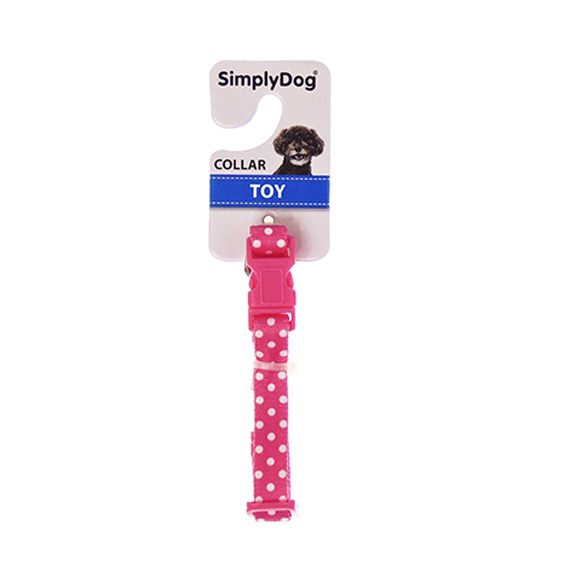 Dog Collar Pink and White Polka Size Toy