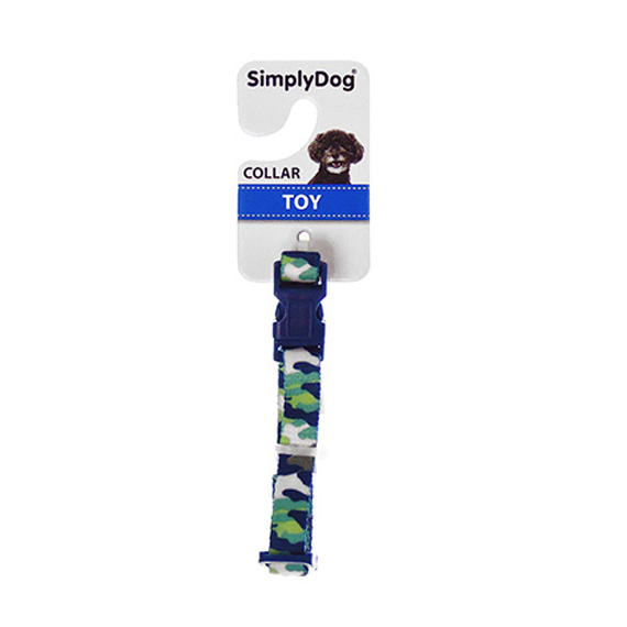 Dog Collar Blue and Green Camo Size Toy