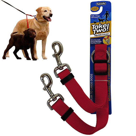 Dog Leash Red Take Two Dogs 1