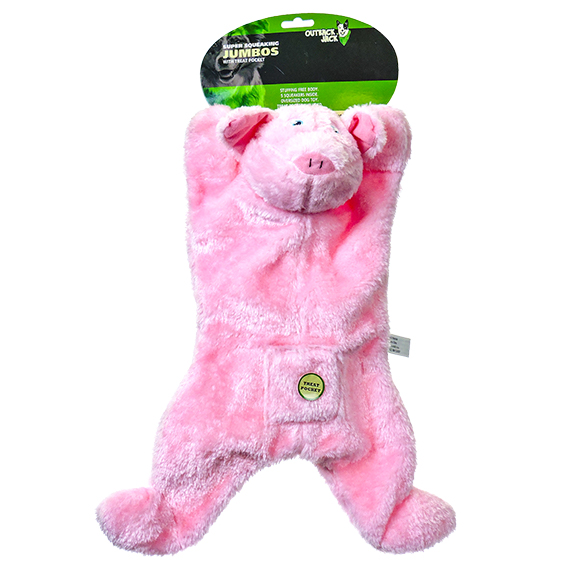 Jumbo Pig Pet Toy with Squeaker and Treat Pocket