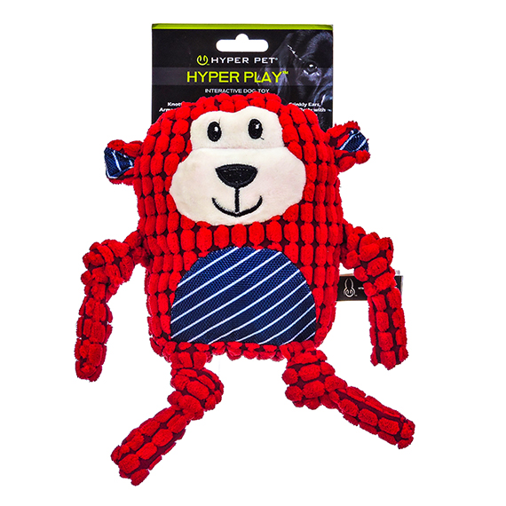 Red Monkey Interactive Dog Toy Multi Texture and Noise