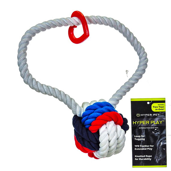 Rope Toy & Teether for Dogs - Red, Blue, Wht Rope w/Teether