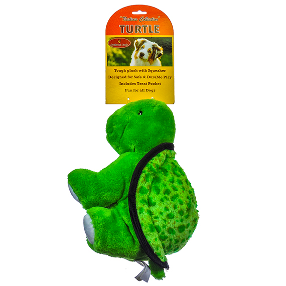 Tough Plush Turtle Pet Toy with Squeaker and Treat Pocket