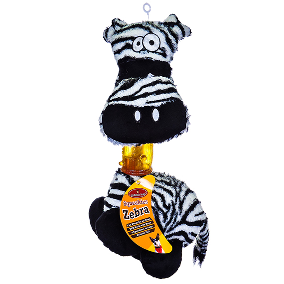 Squeakies Zebra Chew Toy For Dogs W/Squeakers