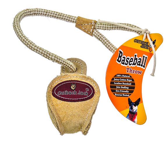 Baseball Throw Dog Toy - Leather and Jutey Cotton