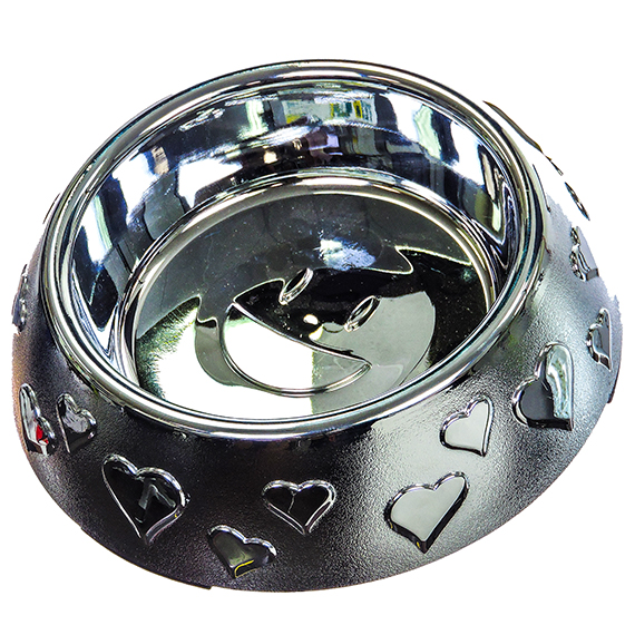Pet Zone Metalshield 2 Cup Bowl - Happy In Love - RSL