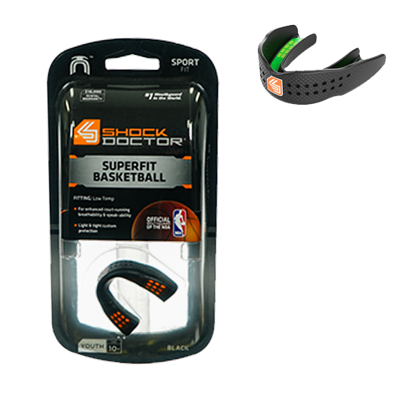 Mouth Guard SuperFit Basketball S/less Blk Y