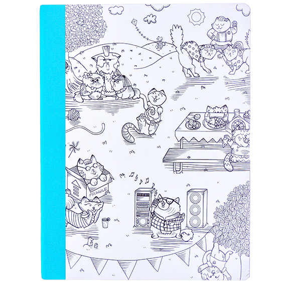 Composition Lined Notebook-60 pg-Hall Pass-coloring Cats