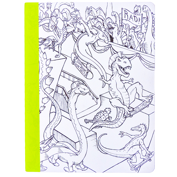 Composition Lined Notebook-60 pg-Hall Pass-coloring Dinosaur